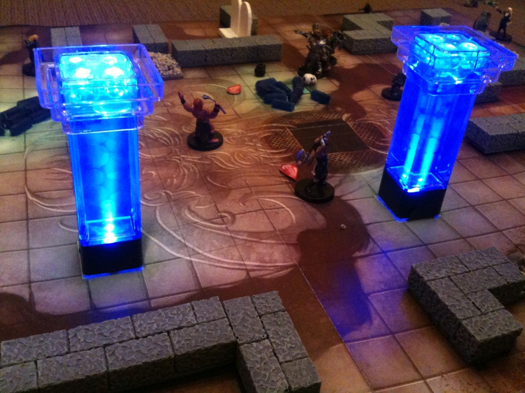 Diy miniature terrain glowing pillars one inch square for Small led lights for crafts michaels
